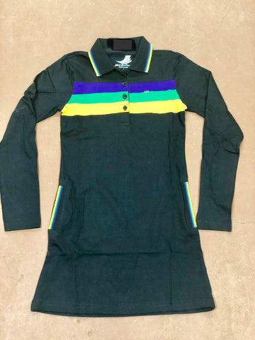Mardi Gras Girls Black Three Striped Polo Dress