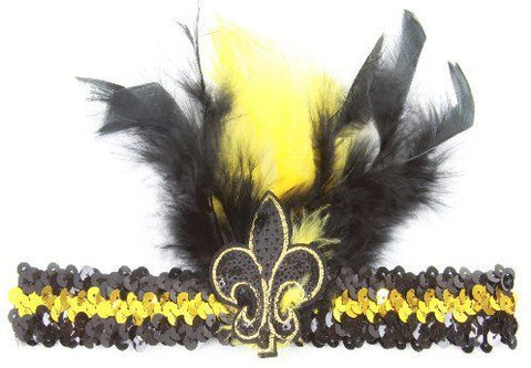 Black and Gold Sequin Feathered Headband - Poree's Embroidery