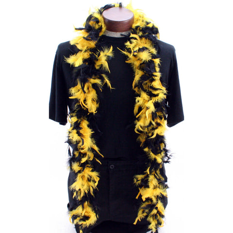 Black and Gold Feathered Boa - Poree's Embroidery