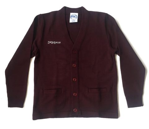 DeLaSalle High School Burgundy Cardigan Sweater - Poree's Embroidery