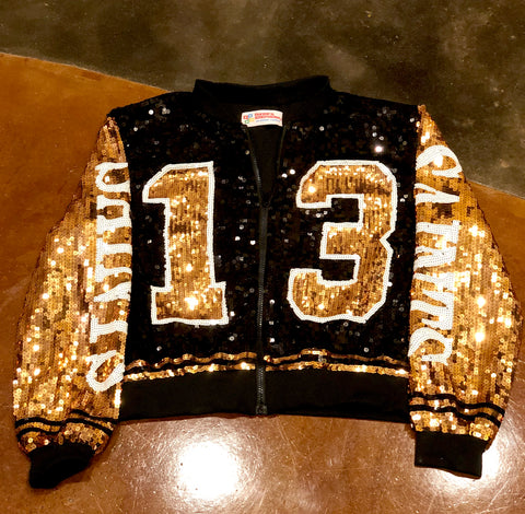 Black and Gold Sequin Number #13 Bomber Jacket - Poree's Embroidery