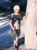Black and Gold Sequin Off The Shoulder #41 Dress - Poree's Embroidery