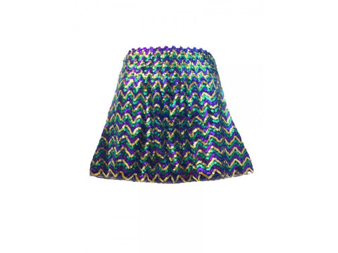 Mardi Gras Chevron Sequin Mini Skirt - Poree's Embroidery