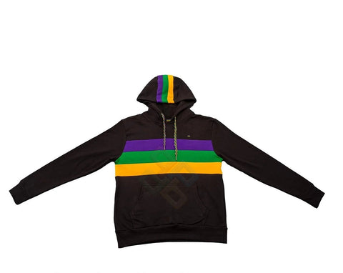 Mardi Gras Black Pullover Hooded Sweatshirt - Poree's Embroidery