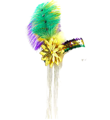 Mardi Gras Flapper/Feather Headband - Poree's Embroidery
