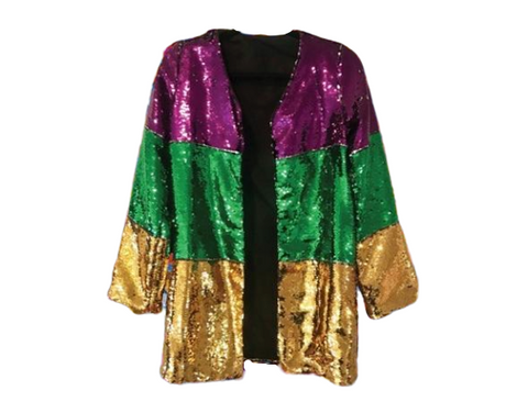 Mardi Gras Tri-Color Sequin Kimono - Poree's Embroidery