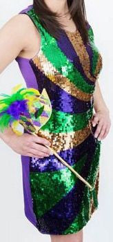 Mardi Gras Sequin Splash Party Parade Ball Dress Poree