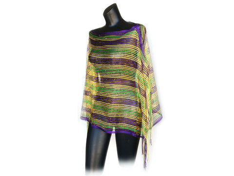 Mardi Gras Shimmering Poncho - Poree's Embroidery