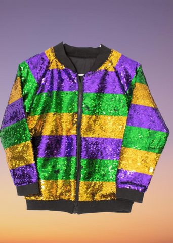 NEW ARRIVAL: Mardi Gras Striped Sequin Jacket - Poree's Embroidery