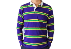 Mardi Gras Purple Infinity Rugby Long Sleeve Polo Shirt - Poree's Embroidery