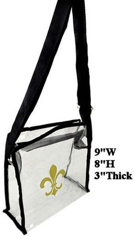Fleur De Lis Clear Game  Day Stadium Bag W/strap - Poree's Embroidery
