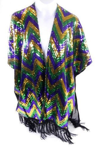 Mardi Gras Sequin Chevron Shimmering Pancho - Poree's Embroidery