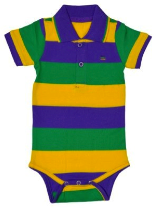 Mardi Gras Infant Traditional Striped Collared Romper - Poree's Embroidery
