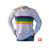 Mardi Gras Long Sleeve Polo Shirt (Woven Stripes) - Poree's Embroidery
