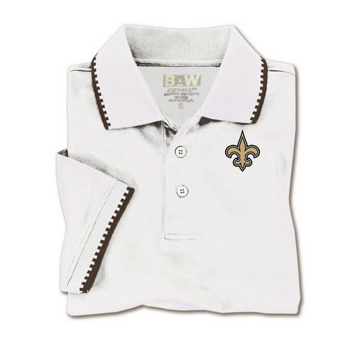 New Orleans Saints Fleur De Lis Mens Knit Polo Shirt - Poree's Embroidery