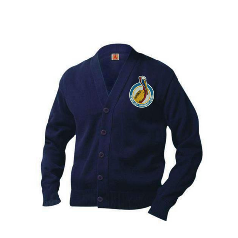 New Logo: Morris Jeff Community High School Cardigan Sweater - Poree's Embroidery