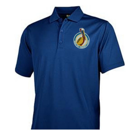New Logo: Morris Jeff Community School Youth Polyester Polo (Navy Blue)