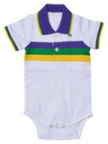 Mardi Gras Infant Woven Striped Collared Romper - Poree's Embroidery