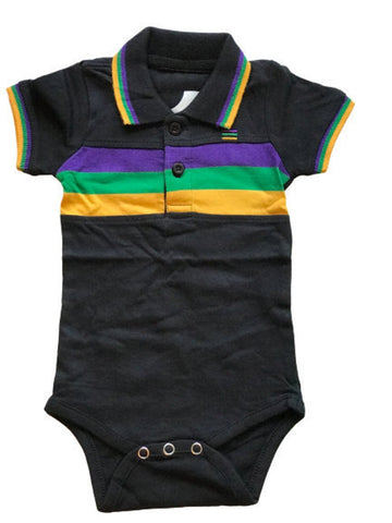 Mardi Gras Black Three Stripe Onesie (Short or Long Sleeve) - Poree's Embroidery