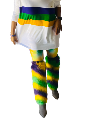 Mardi Gras Chevron Furry Leg Warmers (Adults or Kids)