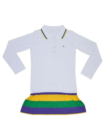 Mardi Gras Little Girls White Polo Dress - Poree's Embroidery