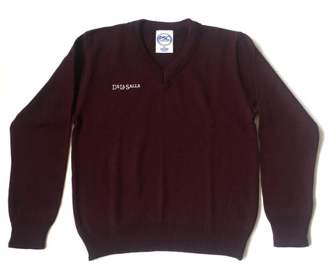 DeLaSalle High School Burgundy V-Neck Sweater - Poree's Embroidery