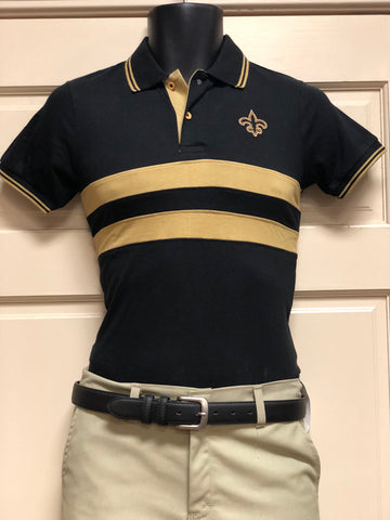 The Black and Gold Chest Stripe Polo Shirt - Poree's Embroidery