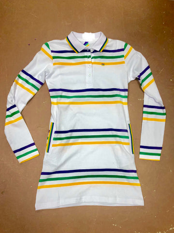 Mardi Gras Girls Thin Striped Polo Shirt Dress - Poree's Embroidery
