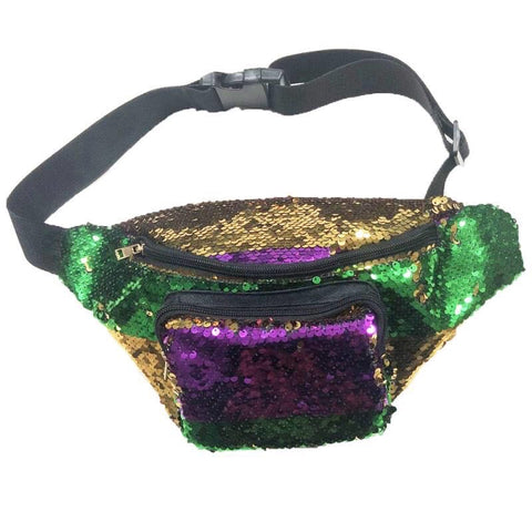 Mardi Gras (Purple Green and Gold) Sequin Fanny Pack - Poree's Embroidery