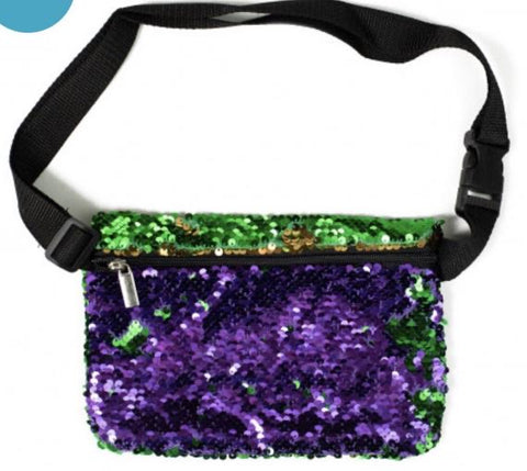 Mardi Gras (Purple Green and Gold) Mini Sequin Fanny Pack - Poree's Embroidery