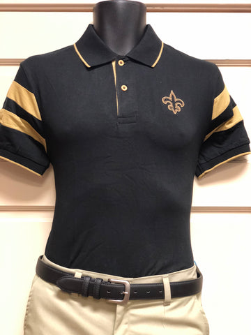 The Black and Gold Arm Stripe Polo Shirt - Poree's Embroidery