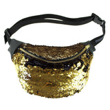 Black and Gold Sequined Fanny Pack - Poree's Embroidery