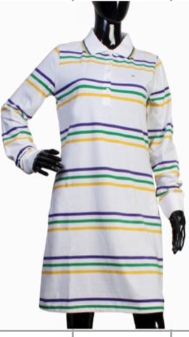 Mardi Gras Thin Striped Polo Shirt Dress - Poree's Embroidery