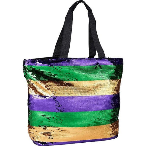 Mardi Gras Sequin Shoulder Tote Bag - Poree's Embroidery