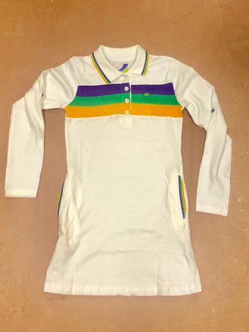 Mardi Gras Girls White Three Stripe Polo Dress