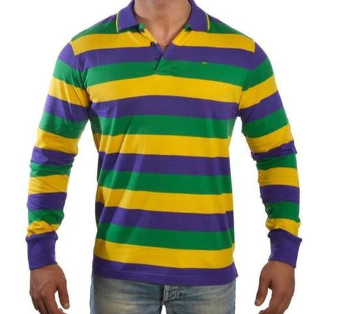 Mardi Gras Long Sleeve Polo Shirt (Traditional Stripes) - Poree's Embroidery