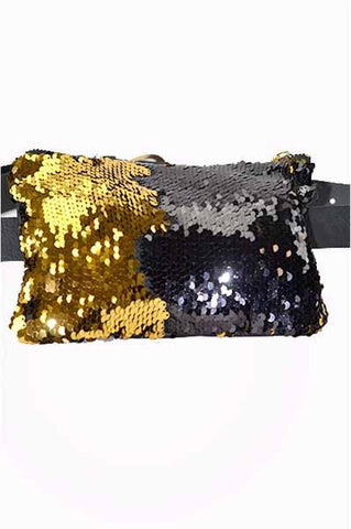 Black and Gold Sequined Squared Fanny Pack (NFL Compliant Size) - Poree's Embroidery