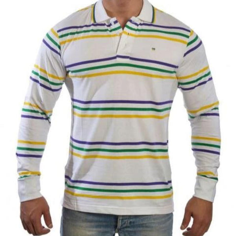 Mardi Gras White Infinity Stripe Polo Shirt (Thin Stripes) - Poree's Embroidery