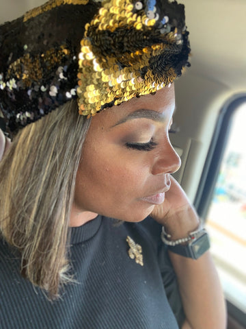 Black and Gold Sequin Headband - Poree's Embroidery