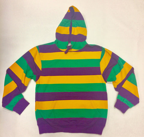 Mardi Gras Striped Pullover Hooded Sweatshirt