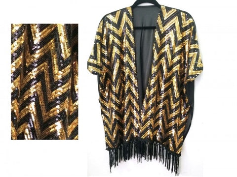 Black and Gold Sequin Chevron Kimono - Poree's Embroidery