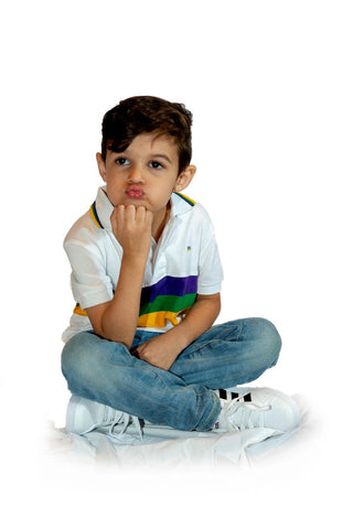 Mardi Gras Kids Short Sleeve Polo Shirt (Available in Black or White) - Poree's Embroidery