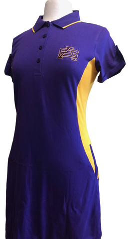 Fanwear: Ladies Purple and Gold Side Panel Polo Dress - Poree's Embroidery