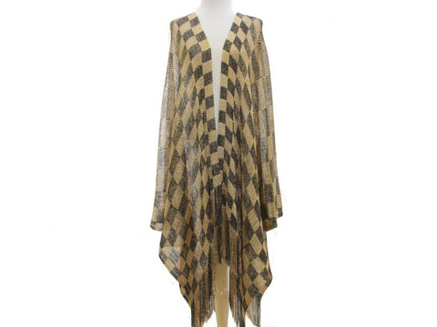 Black and Gold Checkered Kimono Poncho - Poree's Embroidery