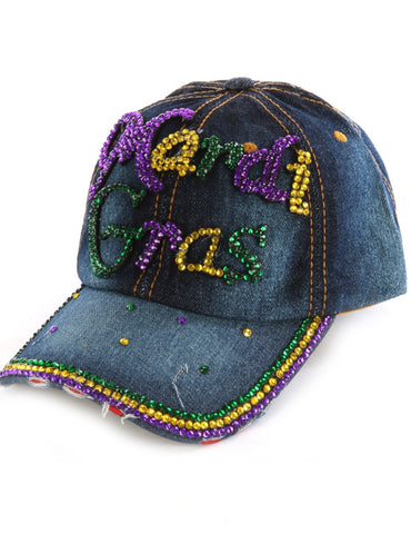 Mardi Gras Denim Bling Bling Cap - Poree's Embroidery