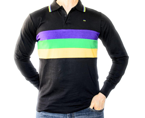 Mardi Gras Kids Black Long Sleeve Polo Shirt (Chest Stripes) - Poree's Embroidery