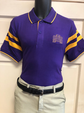 Fanwear: Purple and Gold Arm Stripe Polo