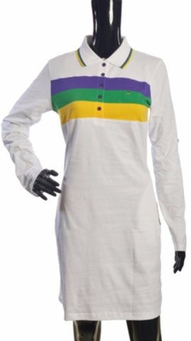 Mardi Gras Woven Striped Polo Shirt Dress