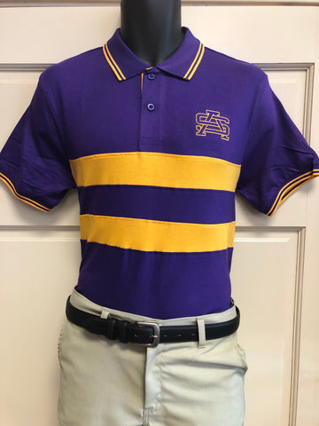 Fanwear: Purple and Gold Chest Stripe Polo - Poree's Embroidery