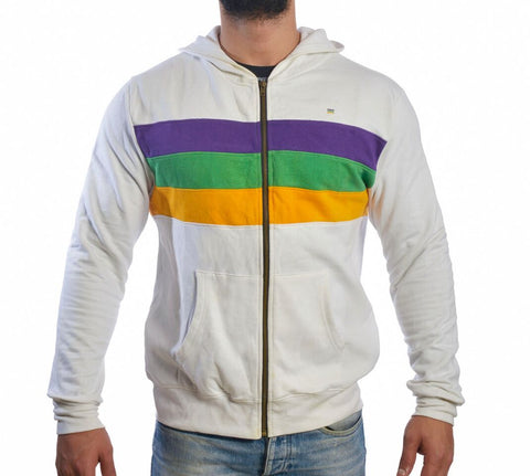Mardi Gras Three Woven Striped Zippered Hooded Sweatshirt - Poree's Embroidery